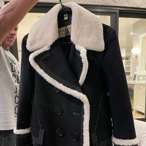 Burberry Women Black Colstead Shearling Trim coat